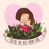 Greeting card for mom with love — Vector de stock