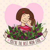 Greeting card for mom with love — Stockvector