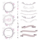 Set of abstract vector floral elements, frame, ribbon,etc — Stockvektor