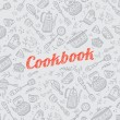 Cookbook cover with kitchen items — Stock Vector #75809539