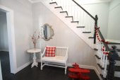 Hallway with bench,table and stairs — Stok fotoğraf