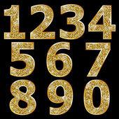 Gyllene metalliskt glänsande tal — Stockvektor