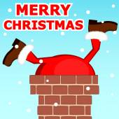 Santa Claus stuck in the chimney on the roof — Stockvector