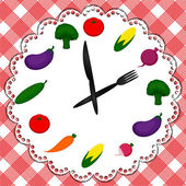 Clock showing healthy food — ストックベクタ