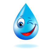 Blue shiny water drop with eyes — Vetorial Stock