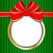 Christmas frame with red bow and space for your text — 图库矢量图片