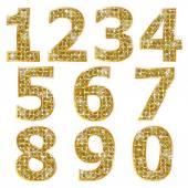 Golden metallic shiny numbers — Stock Vector