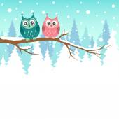 Two owls on a branch in winter forest — Stock Vector