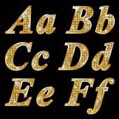 Golden metallic shiny letters A, B, C, D, E, F — Stock Vector