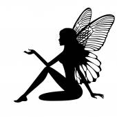 Silhouette of fairy — Stock Vector