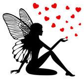 Silhouette fairy girl — Stock Vector