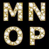 Golden metallic shiny letters M, N, O, P — Stock Vector