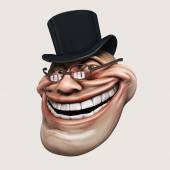 Trollface spectacled, in hat. Internet troll 3d illustration — Stock Photo