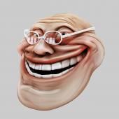 Trollface spectacled. Internet troll 3d illustration — Stock Photo