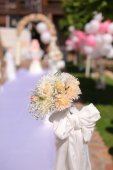 White flowers decorations during outdoor wedding ceremony — Stock Photo