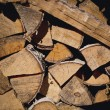 Fire wood background texture. closeup of chopped fire wood stack — Stock Photo #68999037