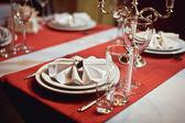 Tabulka pro akci party nebo svatební hostinu — Stock fotografie