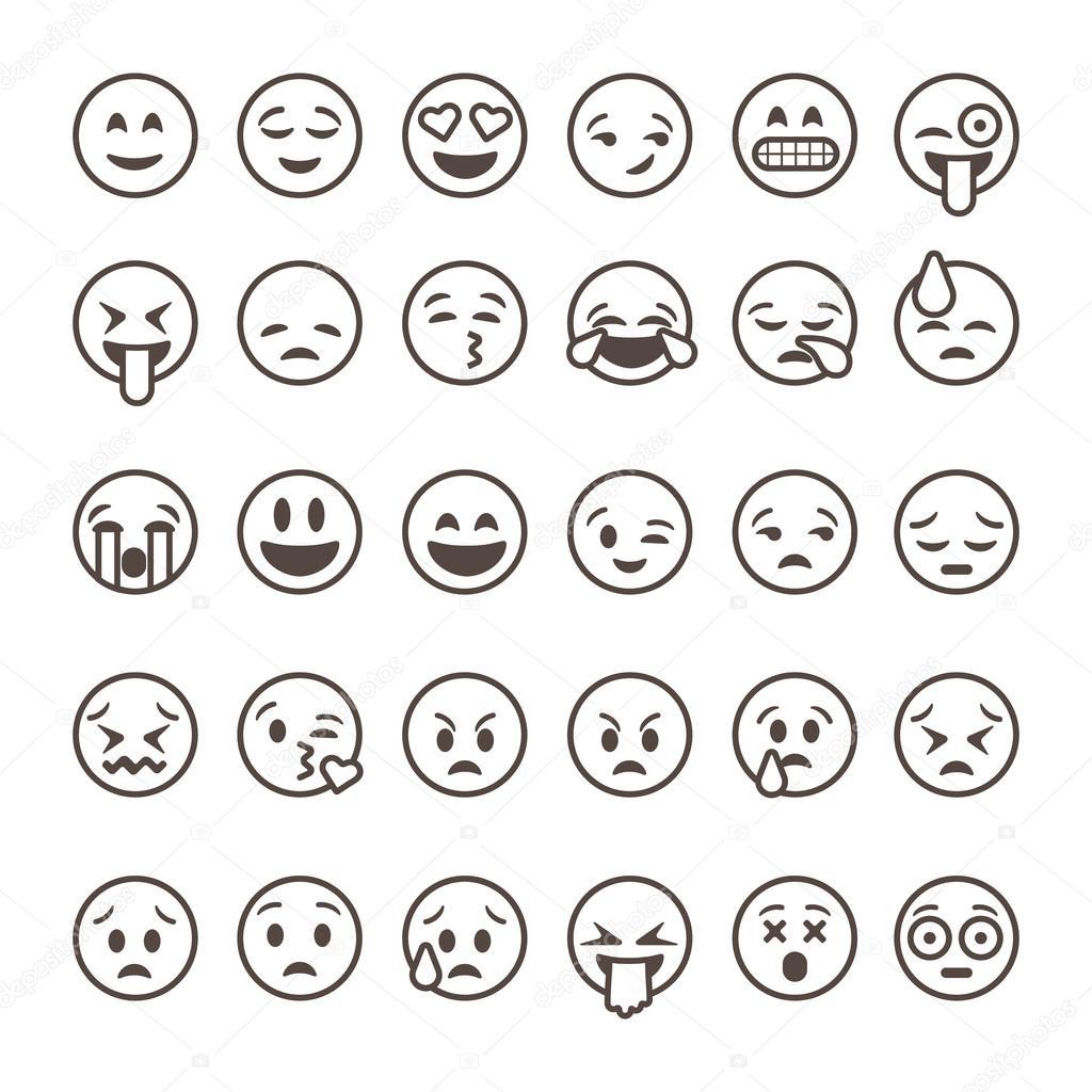 Ensemble d motic nes de contour emoji isol sur fond - Smiley en noir et blanc ...