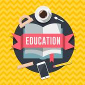 Education flat design concept for web and mobile services and apps. — Stock Photo