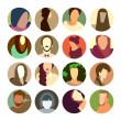 Set of circle icons with colorful avatar faces, flat design style — Stock Photo #51860865