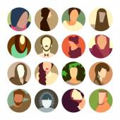 Set of circle icons with colorful avatar faces, flat design style — Stock Photo