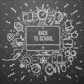 Freehand chalk drawing school items on the black chalkboard. Back to School, vector Eps10 illustration. — Stock Vector