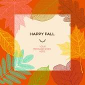 幸せな秋紅葉と単純なテキスト、ベクター グラフィック テンプレート. — ストックベクタ