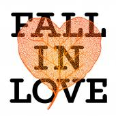Fall in love - autumn sale poster with leaf heart shape and simple text on white background, vector illustration. — Stock Vector