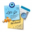 Travel and tourism concept. Lets go to the beach text on the post it notes, travel magnets, boarding pass, vector illustration. — Stock Vector #54948119