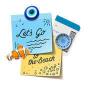 Travel and tourism concept. Lets go to the beach text on the post it notes, travel magnets, boarding pass, vector illustration. — Stock Vector