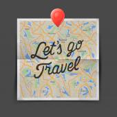 Travel concept. Text - let is go travel on the map seamless background, vector illustration. — Stock Vector
