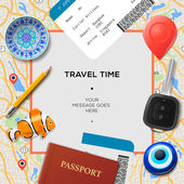 Travel time template. International passport, boarding pass, tickets with barcode, amulets and key on the map background, vector illustration. — Stock Vector