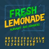 Alphabet and numbers - Fresh lemonade — Vettoriale Stock