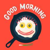 Good morning - smiling face make with fried eggs — Stock Vector