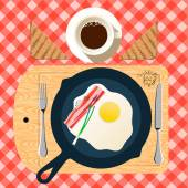 Frying pan of breakfast with fried eggs, bacon — Stock Vector