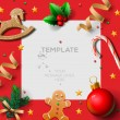 Merry Christmas festive template with gingerbread men and Christmas decoration, vector illustration. — Stock Vector #59218713