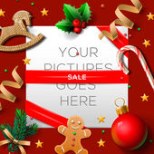 Christmas sale poster, vector illustration. — Stock Vector