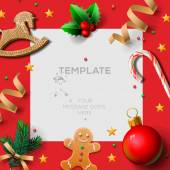 Merry Christmas festive template with gingerbread men and Christmas decoration, vector illustration. — Stock Vector