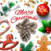 Merry Christmas festive background with gingerbread men and Christmas decoration, vector illustration. — Stockvektor