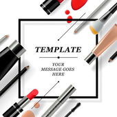 Makeup template with collection of make up cosmetics and accessories, vector illustration. — Stock Vector