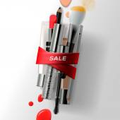 Various makeup brushes and cosmetics with red ribbon. Sale poster, vector illustration. — Stock Vector