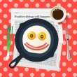 Funny breakfast with love, smiling face make with fried eggs and bacon, vector illustration. — Stock Vector #62401869