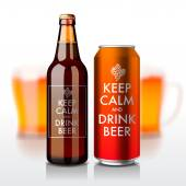Beer bottle and can with label - Keep Calm and drink beer — Stok Vektör