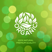 Organic food label on green background — Stock Vector