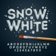 Snow white alphabet and numbers — Stock Vector #69977427