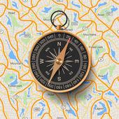 Oude kompas op kaart achtergrond — Stockvector