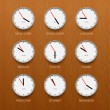 Timezone clocks showing different time, wooden wall background — Stockvektor  #72208495