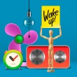 Wake up. Workspace mock up with analog alarm clock, sound system, fan, wooden mannequin — Stock Vector #72214133