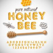 Latin alphabet and numbers made of honey — 图库矢量图片