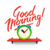Good Morning. Workspace mock up with analog alarm clock — Stock Vector